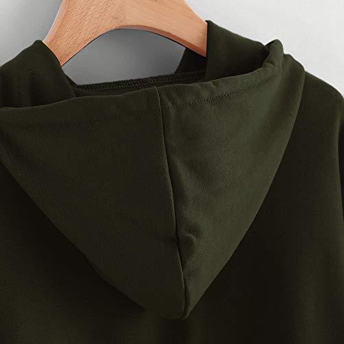 Piebo la Shirt Solid pour Pullover Peau Coton Ray Blouse Crop Tissu Pullover Tops Manches Blouse Hoodie Cordon Rayures Verte Couleur Unie Sweat Stripe Automne Longues Doux Plaine Crop Arme Tunique BqrwZaPB