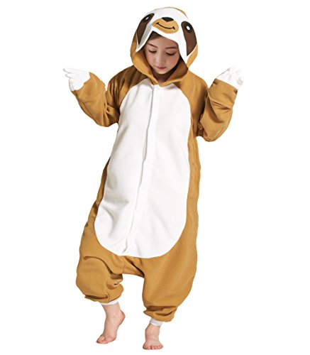 YUWELL Kids Sloth Animal Onesie Pyjamas Costume Homewear - Soft ans Comfortable with Pockets ()