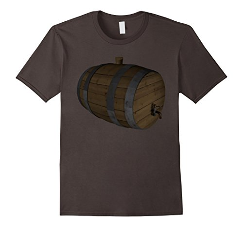 Costume Man Barrel (Mens Beer Keg Costume T-Shirt Wooden Barrel Cask With Top Medium)
