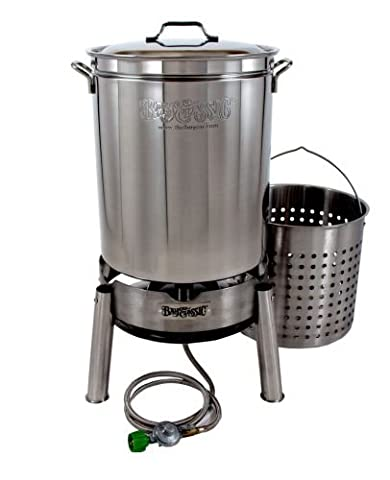 Bayou Classic KDS-160 Stainless 62qt Boiler/Steamer Kit - Clam Steamer Pot