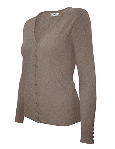 Cielo Women's Knit Silk Soft Cardigan Sweater, V-neck (Extra Large, SW205 Khaki) ()