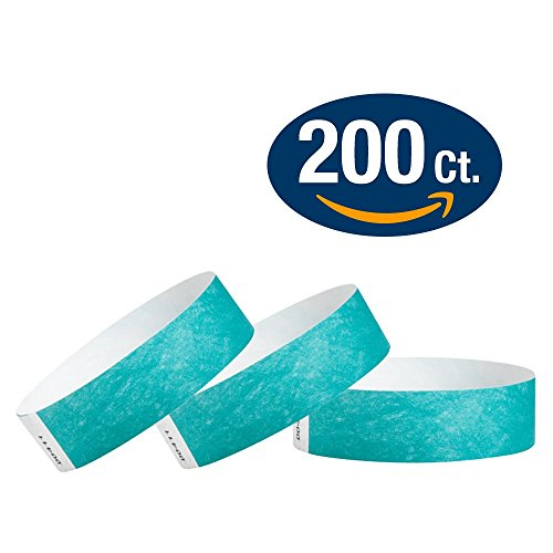 WristCo Caribbean Blue 3/4 Tyvek Wristbands - 200 Pack Paper Wristbands For (Adhesive Wristbands)