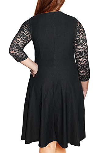 086061f8fea68 Nemidor Women s Vintage Square Neck Floral Lace Sleeve Plus Size Cocktail  Swing Dress (26W