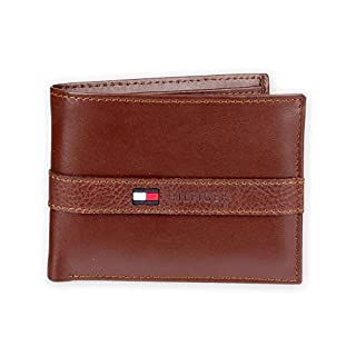 Tommy Hilfiger Men's Leather Wallet – Slim Bifold with 6 Credit Card Pockets and Removable Id Window, Cognac, One Size