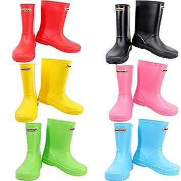 35e20621837f Leopard Boys Girls Non-Slip Waterproof Kids Wellies Wellington Boots -  Black UK1 Adult -