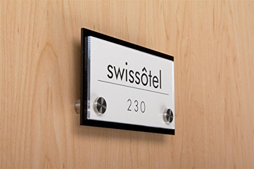 Door Sign for Wall Mount with Stainless Steel Standoffs, 6 x 3-Inch, Black And Clear Acrylic - Room Sign Conference