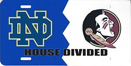(Notre Dame FSU Seminoles House Divided Photo License Plate)