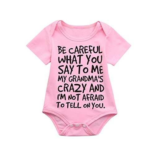 Lisin Newborn Infant Baby Kids Girl Boy Print Romper Jumpsuit Short Sleeve Outfits Sunsuit Clothes (Size:0/6Months, Pink) -