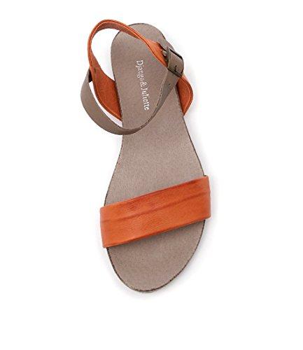amp; Sandals Summer JINNIT JULIETTE Flat Womens Sandals TAUPE ORANGE DJANGO LEATHER dPgq6wd
