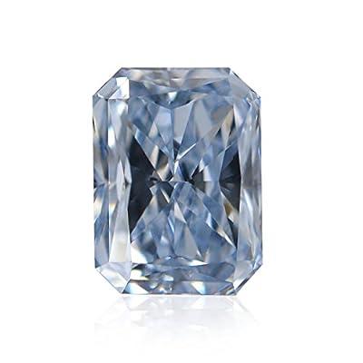 0.54 Carat Fancy Intense Blue Loose Diamond Natural Color Radiant Cut GIA Cert