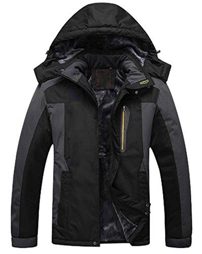 ARRIVE GUIDE Mens Vouge Waterproof Spliced Thicken Mountain Ski Jackets Black - Vouge Mens