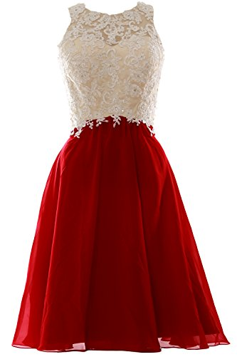 MACloth Women High Neck Lace Chiffon Short Prom Dress Formal Party ...