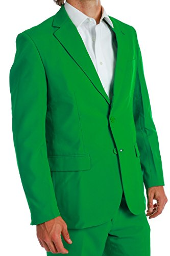 Men's Solid Green Suit by OppoSuits - Individual Jacket, Pants, or Tie, Green, Jacket - Solids Green / (Green Morph Mask)