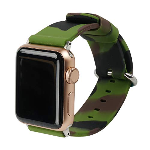 Camo Silicone - WONMILLE Sport Camo Bands Compatible for Apple Watch 42mm 44mm 38mm 40mm, Camouflage Silicone Strap Replacement Wristbands Replacement for iWatch Series 4/3/2/1 (42mm/44mm, Army Green)