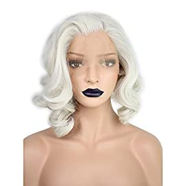 Anogol Hair Cap+ Platinum Short Blonde Lace Front Wig for White Women Curly Wavy Bob Wigs for Drag Queen Synthetic Body…