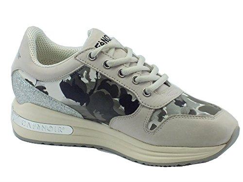 CAFeNOIR MDA120 Bianco Nero Sneakers Scarpe Donna Comode Fashiom