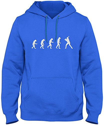 Rlm Series (ShirtLoco Men's Evolution Of Man To Baseball Player Hoodie Sweatshirt, Royal Medium)