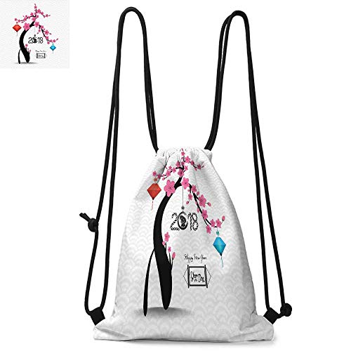 - Year of the Dog Drawstring backpack series Flourishing Cherry Blossom Tree with Oriental Elements Abstract Nature Convenient choice for daily activities W17.3 x L13.4 Inch Multicolor