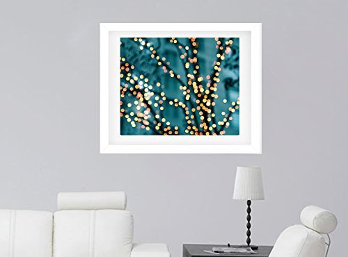 Abstract Art Photography, Lighted Tree Branches, Sparkling Bokeh Lights, Teal Blue Yellow Orange Tree Decor, Modern Wall Print 8x10, 11x14, 16x20