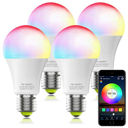 Magic Hue WiFi Light Bulb That Works with Alexa, A19 E26 7W (60w Equivalent) Tunable White Multicolor Smart LED Light Bulb No Hub Required, Compatible with Alexa Google Assistant (4Pack)