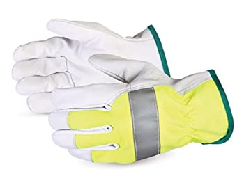 Superior 378GAHVB High-Viz BeSeen Grain Goatskin Leather Driver Glove, Work, X-Large, Yellow/Silver (Pack of 1 Dozen)
