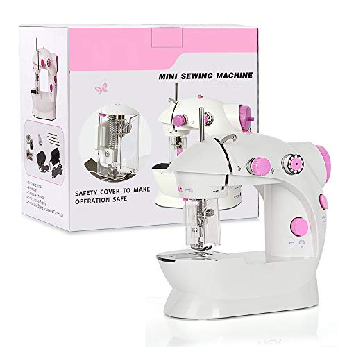 Mini Sewing Machine, Portable Adjustable 2-Speed Double Thread Sewing Machine with Needle Protector Perfect for Beginner