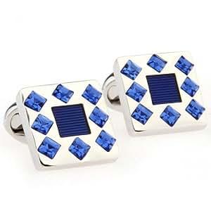 Classic And Fashion square Cufflinks Mosaic Blue Crystal Cufflinks