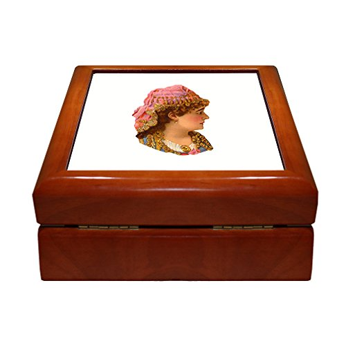 Arab Costume Jewellery (Woman In Arab Costume Vintage Look Jewelry Box with Ceramic Tile Lid Insert Golden Oak)