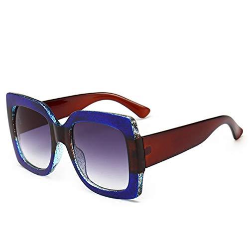 Pour Blue Vintage B Lunettes Dame Grand De Cadre Soleil Gradient Kuxi Transparent Femmes Luxe POFqcxvw