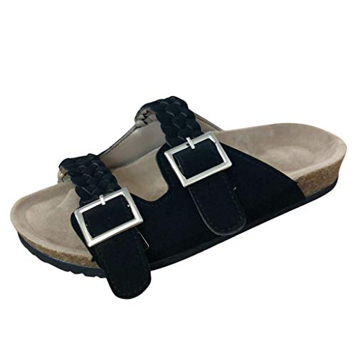 Tantisy ♣↭♣ Women's Comfort Double Buckle Indoor Outdoor Cork Sandal Comfortable Slide Classic Mocha-Suede Women's Sandal