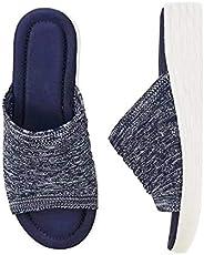 Aunimeifly Women's Slip on Slides Sandal Comfy Gradation Stretch Cross Orthotic Slide Sandals for Women In