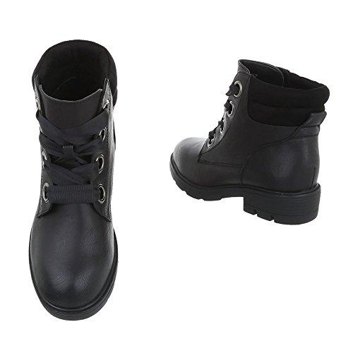 Ital-Design Schnürstiefeletten Damenschuhe Klassischer Stiefel Blockabsatz Schnürer Schnürsenkel Stiefeletten Schwarz