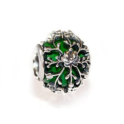 Green Murano Glass & Sterling Silver Flower Charm Bead S925, Green Glass Silver Flower Charm Bead pendant necklace, Irish charm Jewelry, Floral Matyo Jewellery Pandora compatible