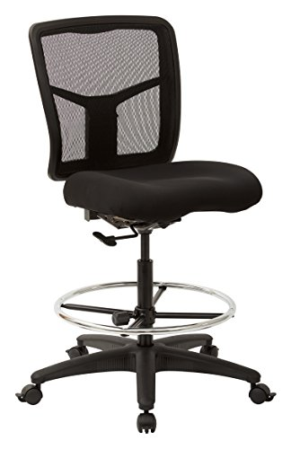 Office Star ProGrid Mesh Back and Padded Coal FreeFlex Seat, Adjustable Footring, Nylon Base Adjustable Drafting Chair, Black