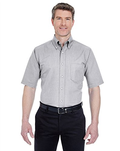 (UltraClub 8972 Short-Sleeve Oxford Dress Shirt Charcoal XX-Large)