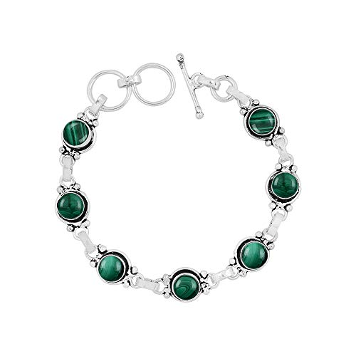 - Natural 7mm Round Shape Malachite Link Bracelet 925 Silver Overlay Handmade Jewelry for Women Girls