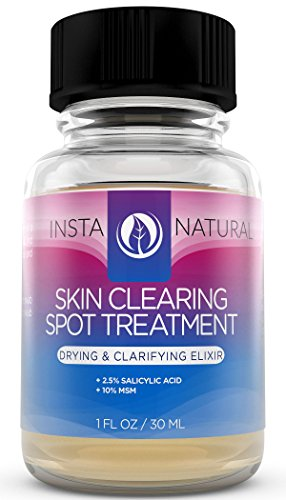 InstaNatural Skin Clearing Spot Treatment - Salicylic Acid & MSM Formula - Natural Blemish & Pore Minimizer - Shrink Whiteheads & Clear Skin - Works on Hormonal & Stress Induced Pimples - 1 OZ