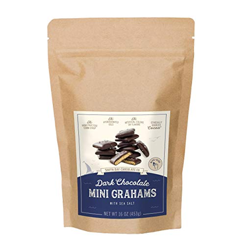 South Bay Chocolate Co. 1 LB Dark Chocolate Mini Graham Crackers with Sea Salt, 16 Ounce