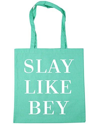 HippoWarehouse Slay Like Bey Tote Shopping Gym Beach Bag 42cm x38cm, 10 litres Mint