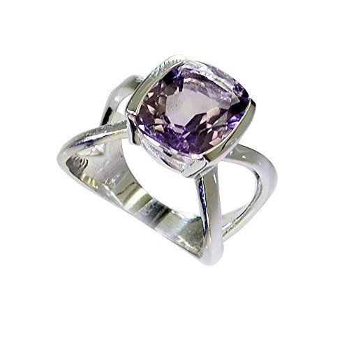 Amethyst Cushion Shape - Real Amethyst Silver Ring For Women February Bithstone Cushion Shape Split Shank Size 5,6,7,8,9,10,11,12