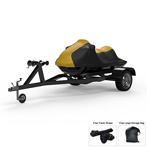 Weatherproof Jet Ski Covers for SEA DOO GTI SE 155 2017-2019 - Yellow/Black Color - All Weather - Trailerable - Protects from Rain, Sun, UV Rays, and More! Includes Trailer Straps and Storage Bag (Best Personal Watercraft 2019)