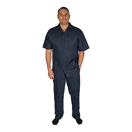 Vittorino Men's 100% Linen 2 Piece Walking Set with Long Pants and Short Sleeve Shirt, Navy, XXX-Large 46-33