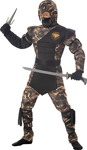 Special Ops Ninja Childrens Costumes (UHC Boy's Japanese Samuri Special Ops Ninja Kids Fancy Dress Halloween Costume, L (10-12))