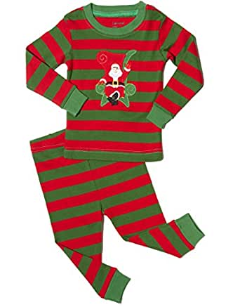 Leveret Kids Christmas Pajamas Boys Girls & Toddler Pajamas 2 Piece Pjs Set 100% Cotton (2 Years, Santa Red/Green)