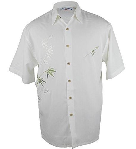 Maui Clothing Company Men's Embroidered Bamboo design Aloha Shirt (Ivory, L)