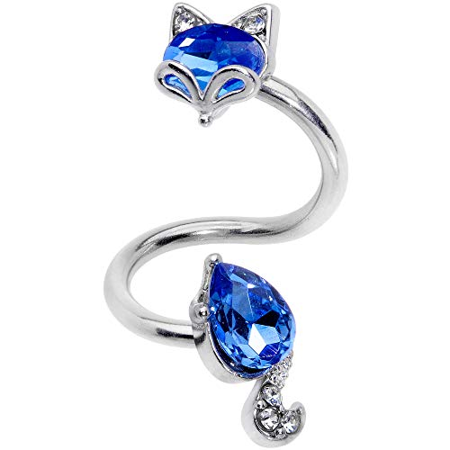 Body Candy Womens 10mm 14G 316L Steel Blue Accent Fox Spiral Twister Belly Button Ring Navel Ring 3/8