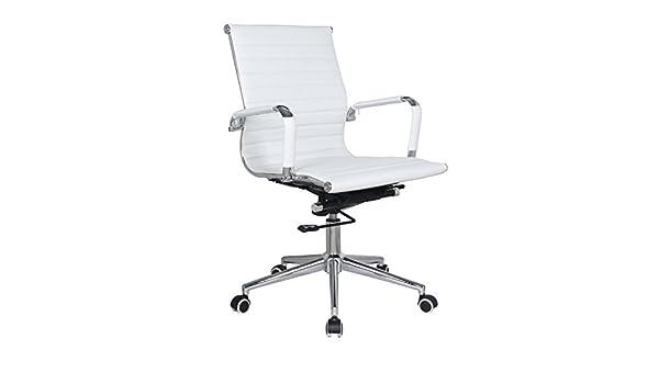 Eames réplica Mid Back Silla de oficina blanco Pleather ...