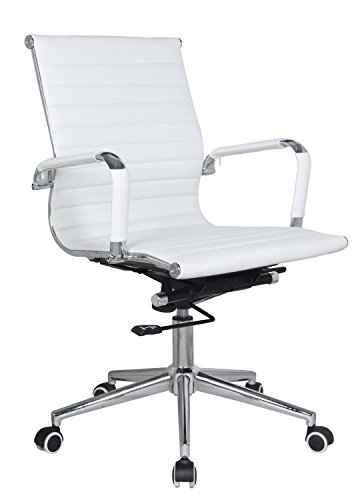 (Classic Replica mid back office chair - stabilizing swivel bar and knee tilt with tensioner knob (White, Pack of 1))