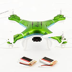 QCopter Green Drone Quadcopter -Awesome Drones With Camera -Brilliant Quadcopters LED Lights -RC Drone with Flight Stability -Drones Long Flights of 30 Minutes w/Bonus Battery -5-Star Customer Service