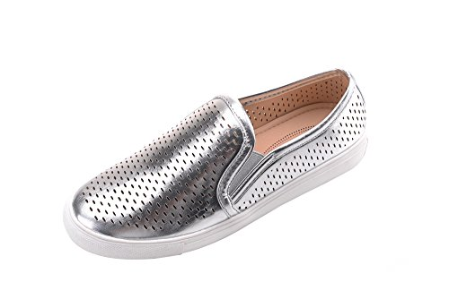 Mila Lady (EMILY) Frauen Canvas Slip On Laser Cut Mode Turnschuhe, Silber